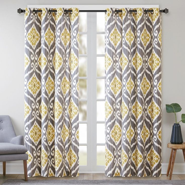 Madison Park Mika Printed Ikat Curtain Panel (50x84 - Yellow), Grey, Size 50 x 84