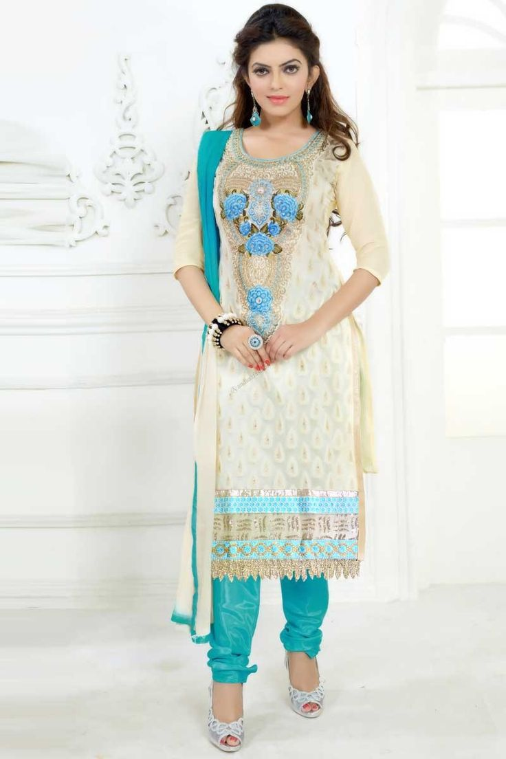 Cream Cotton and Georgette, semi stictch churidar suit. Daman/hem and neck embroidered with embroidered, resham, zari and stone work.  Round neck, Below knee length, elbow length sleeves kameez.   Sky blue, santoon churidar.   Sky blue, cream chiffon dupatta with lace border with work.  http://www.andaazfashion.com/salwar-kameez/churidar-suits/occasion/party-wear-churidar-suits