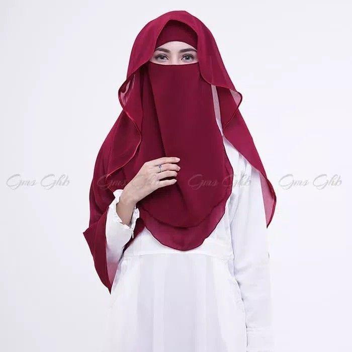 Hijab Cadar Niqab Lis Varian Produk Baru Kami Nijab Niqab Syari Dengan Aksen Layer Dan Lis Kain Satin Warna Senada D Model Pakaian Hijab Model Pakaian Wanita