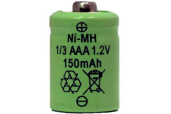 1/3 AAA 150 mAh Button Top NiMH Battery (For Solar Lights)