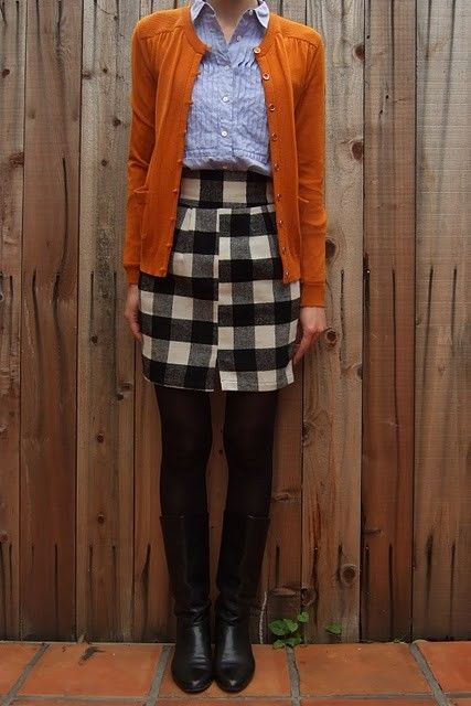 winning comboSummer Outfit, Plaid Skirts, Style, Autumn Outfit, Burnt Orange, Black Boots, Fall Outfit, Work Outfit, Summer Clothing