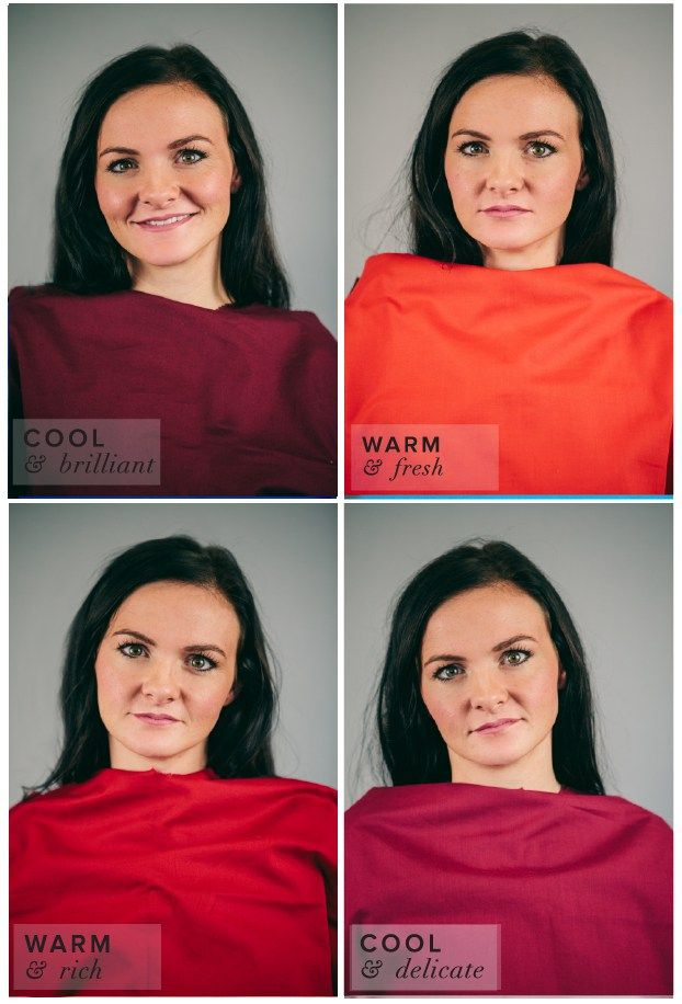 Winter Color Complexion Test.  Different Shades of Red: Flame, Burgundy, Brick, Cranberry.  Burgundy best suits her complexion.