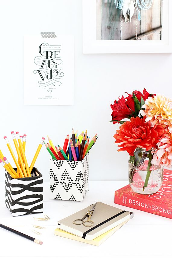 Design & DIY Inspiration for Home, Weddings, Parties. DIY covered pencil pot for your creative space or work desk :)