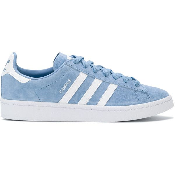 Adidas Adidas Originals Campus sneakers ($135) ❤ liked on Polyvore featuring shoes, sneakers, blue, blue leather shoes, adidas trainers, blue trainers, flat shoes and adidas shoes