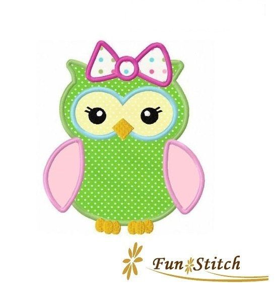 Girl owl applique machine embroidery design instant