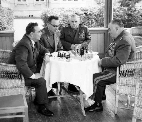 Leonid Brezhnev, Marshal Grechko and Marshal Malinovsky.