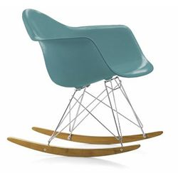 VITRA sedia a dondolo Eames Plastic Armchair RAR rocking chair (Oceano - Polipropilene, filo d'acciaio cromato, acero giallastro) - MyAreaDesign.it