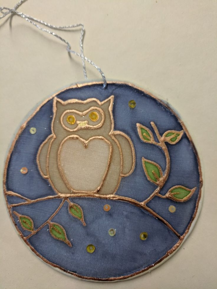 Owl themed silk bauble