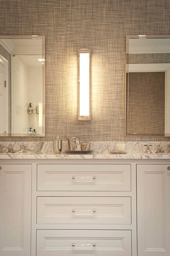 Bathroom vanity with lucite pulls for the home pinterest for Modern wallpaper for bathrooms
