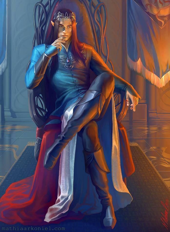 Fingolfin By Mathia Arkoniel  (Como un Alto Rey)  Fingolfin aparece en la novela El Silmarillion. Era un elfo del clan noldor, hijo del rey Finwë e Indis, hermano de Findis, Lalwen, y Finarfin, y hermanastro de Fëanor. Se casó con Anairë y sus hijos fueron Fingon, Turgon, Aredhel, y Argon. Se convirtió en el segundo rey supremo de los Noldor en el exilio, tras Fëanor, en Beleriand.