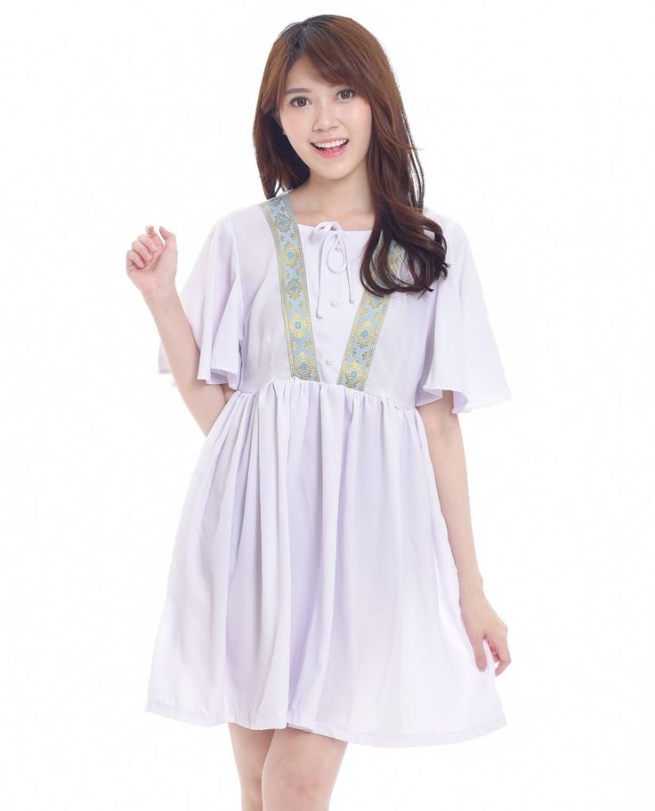 $20. Swirling Graciously Light Blue - I Wear A Bow Steps Collection - cute embroidery white bohemian dress boho. Ship worldwide! #kawaii #asian #fashion #style #look