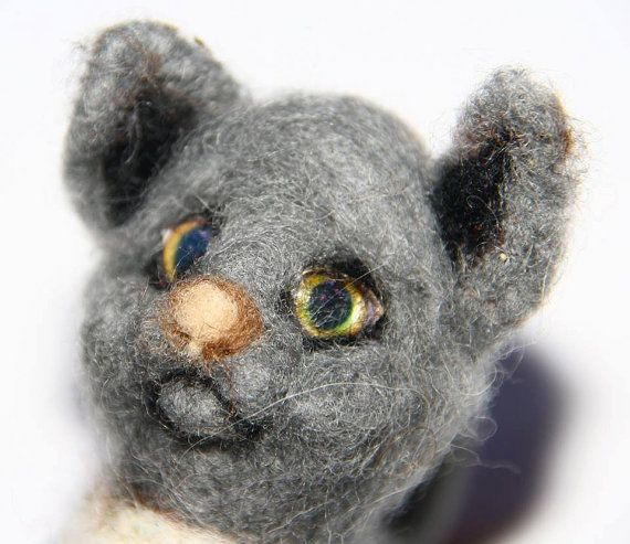 sweet Cat needle felted miniature small animal by nutkaart on Etsy