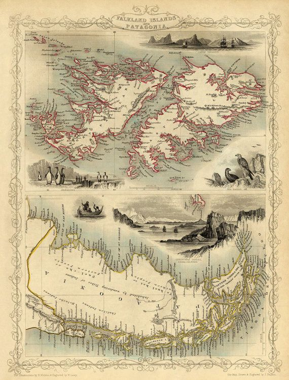 Old map of Falkland Islands and Patagonia, 1851