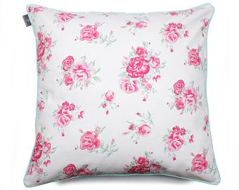 We Love Beds Roses Mint Pillow Case -    Edit Listing  - Etsy