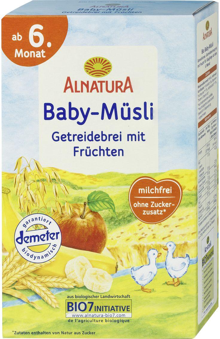 Getreidebrei Baby-Müsli mit Früchten ab 6. Monat - 50 g: 190 kcal, 37 kh, 1,2 fett, 5 protein - https://www.dm.de/alnatura-getreidebrei-baby-muesli-mit-fruechten-ab-6-monat-p4104420081505.html