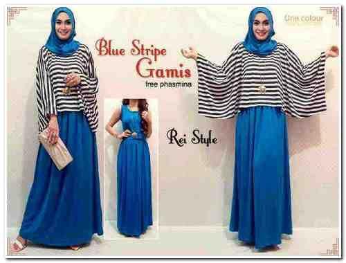 OHG127 Blue Stripe Gamis Katrina