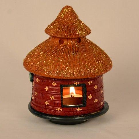 Terracotta Handpainted Hut Tea Light Holder