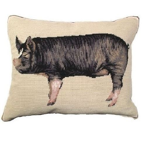 Berkshire Pig Needlepoint | Down Pillow | Pheasant Pillow