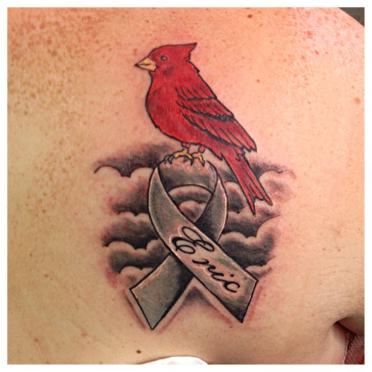 Rip ribbon tattoo small cardinal with ribbon rip