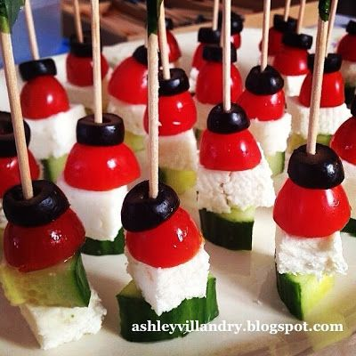 The Healthy Life: Easy Greek Salad Appetizer Bites! This is a great option and can be made easily in large quantities!