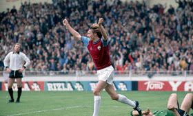 West Ham 2 Fulham 0 in May 1975 at Wembley. Alan Taylor runs off after scoring his 2nd goal in the FA Cup Final.