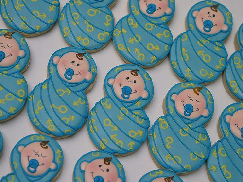 swaddled baby cookies~                by cookie vonster, blue