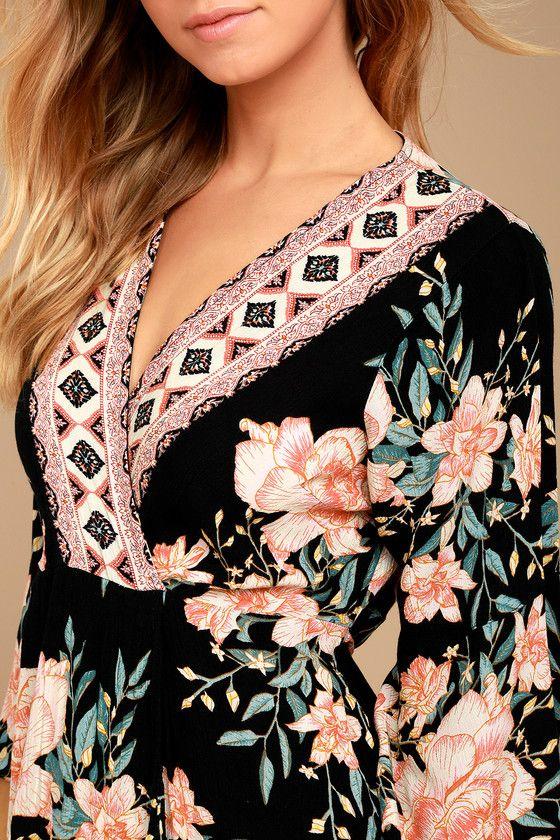 Billabong Divine Black Floral Print Wrap Dress 4