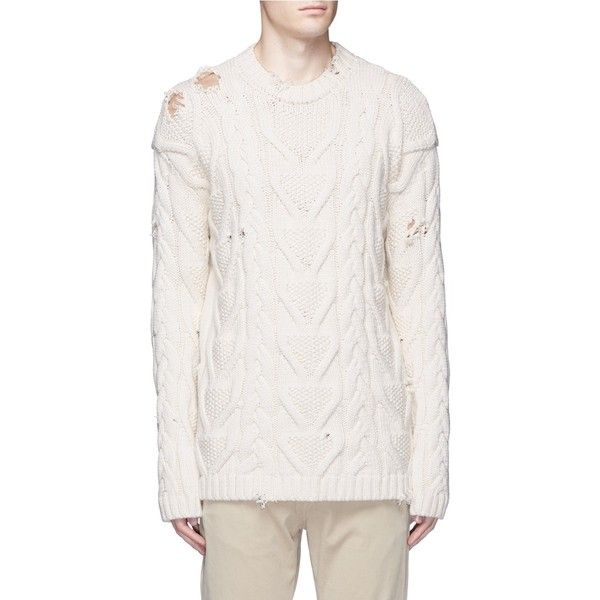 Palm Angels Distressed cotton cable knit fisherman sweater ($560 ...