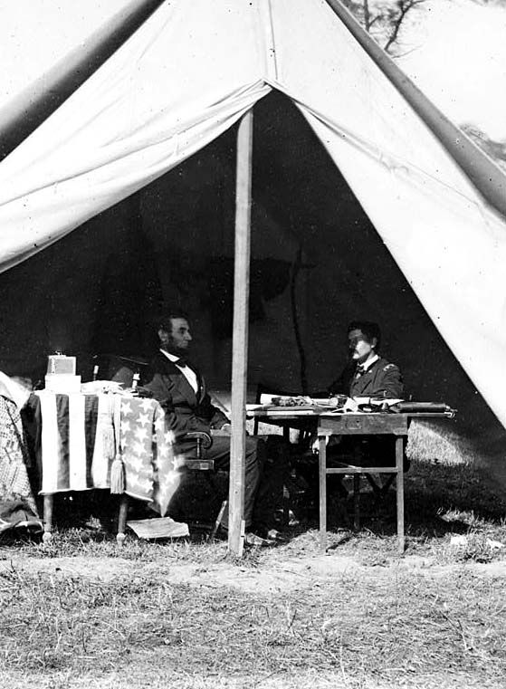 This is a photograph of President Abraham Lincoln and General George McClellan. It was taken on October 3, 1862, shortly after the Battle of Antietam.