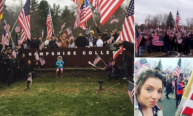 Hundreds of veterans protest liberal arts college after flag removal #DailyMail