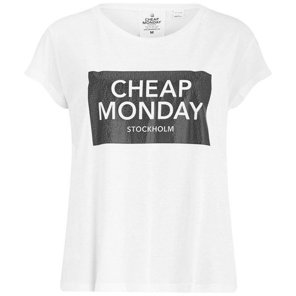 Cheap Monday Women's Have Cracked Slogan T-Shirt found on Polyvore featuring tops, t-shirts, shirts, white, slogan t-shirts, cotton t shirt, slogan shirts, cotton shirts and white cotton t shirts