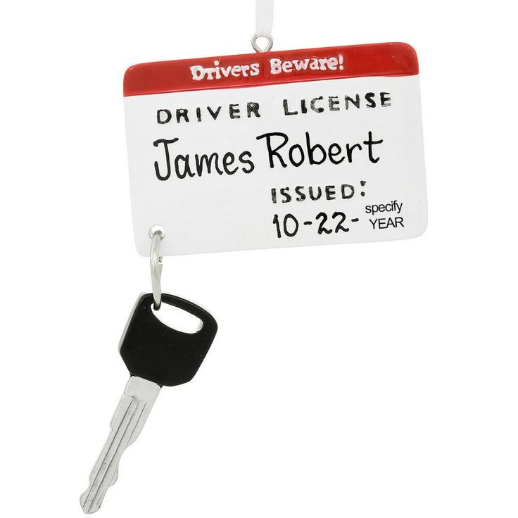 Personalized drivers license and key ornament