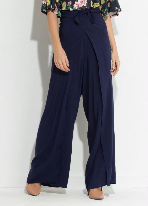 6b21ebfb7 Calça Pantalona Envelope Azul Quintess
