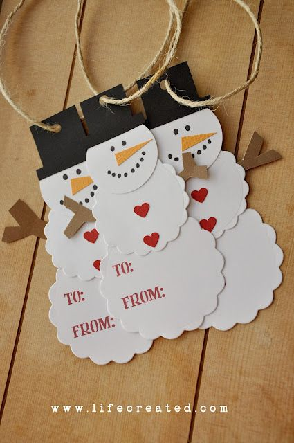 "DIY::Snowman name tags. I love the little heart ""buttons"" - Could be used as…"