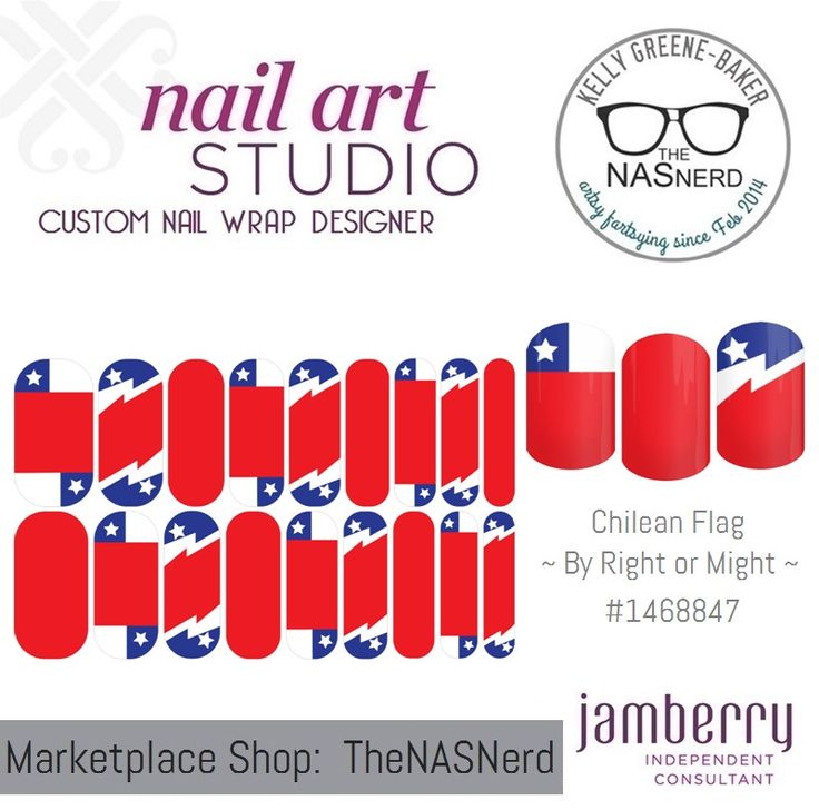 Click for the insta-link to The NAS Nerd's Marketplace Designer Studio! Express your style w/ custom nail wraps!  • Don't have a personal consultant of your own? New to the Jamberry Universe? Message me on my Facebook Fan Page w/ design requests or an invite to join my VIP customer group! www.facebook.com/KellyGBTheNASNerd/  • nail art cosplay diy manicure pedicure lacquer gel kgbnas Chilean flag red blue white star line bolt country pride holiday