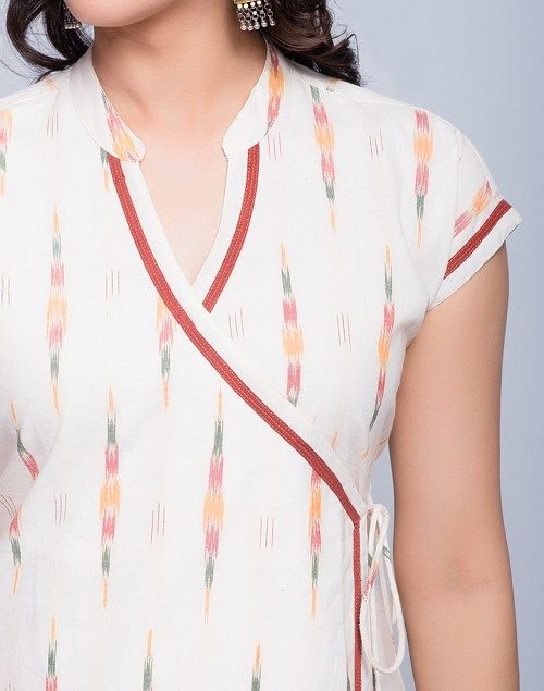 Buy Fabindia Cotton Ikat Anghrakha Magyar Sleeves Long Kurta Online- Fabindia.com