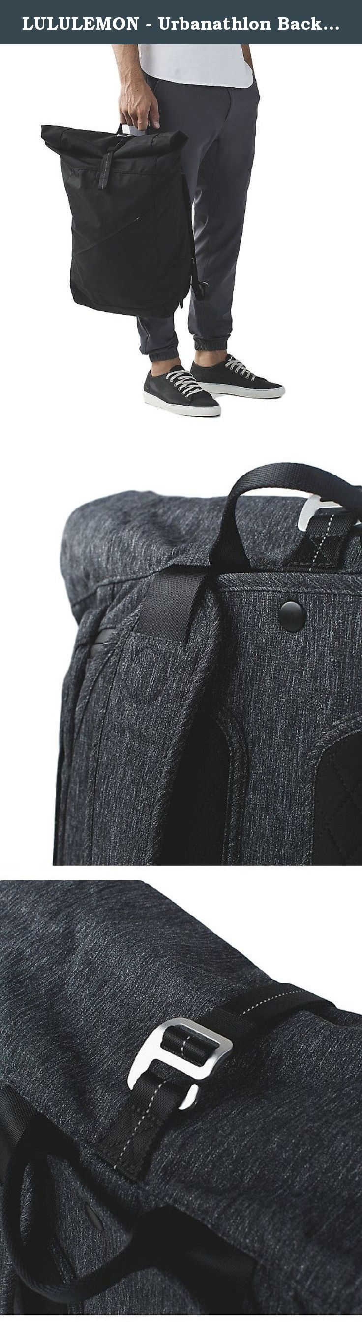 """LULULEMON - Urbanathlon Backpack - Black only - O/S. Fabric is durable and water repellent. The rolltop and clip closure helps keep your gear in and water out. Soft, Tricot fabric lined pocket for your sunglasses and phone. Unsnap the removable bag and cinch the draw cord to keep sweaty gear separate. Suspended padded sleeve with exterior access fits a 15"""" laptop. Reflective details help keep you on the radar. Zippered side pocket to stash your water bottle or essentials. Tested to hold…"""