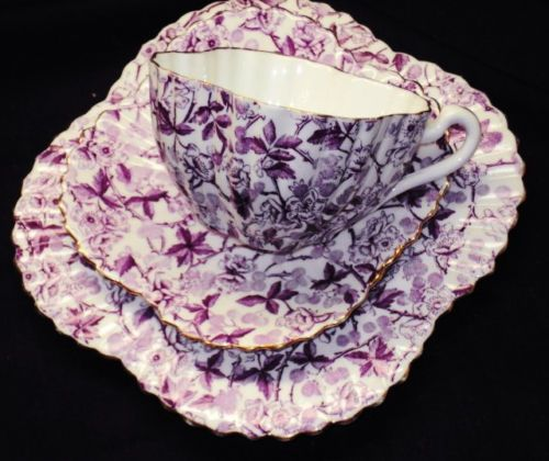 SHELLEY-FOLEY-WILEMAN-Bramble-CHINTZ-PURPLE-TEA-CUP-AND-SAUCER-TRIO-ALEXANDRA