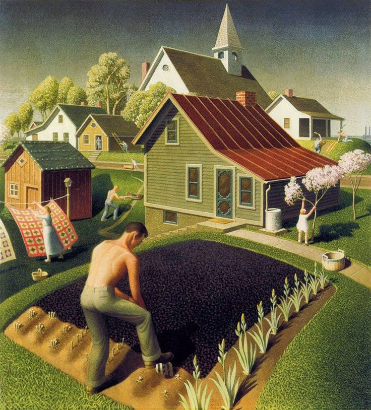 ART & ARTISTS: Grant Wood – Part 2 1942 Spring in Town oil on masonite 66 x 54.6 cm Sheldon Swope Gallery, Terre Haute, Indiana *notes