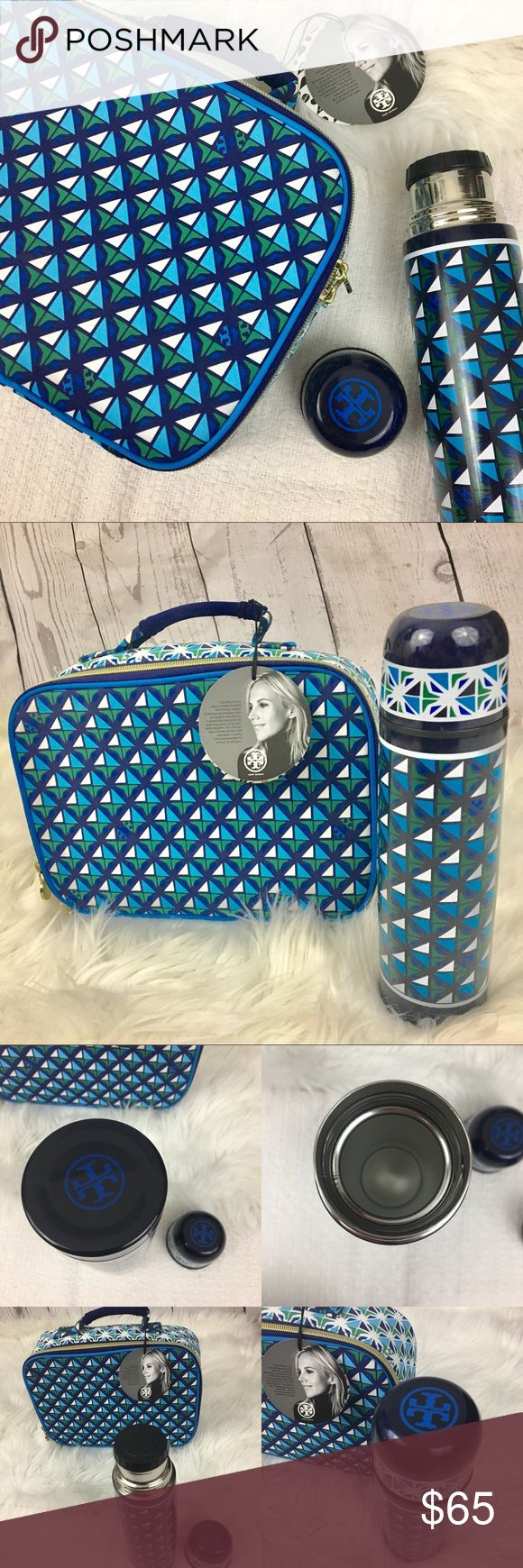 "Tory Burch lunch box & thermos target limited rare Tory Burch Target/Neiman Marcus limited edition lunch box and thermos. Lunch box is NWT and and thermos is NWOT. Tiny scuff on the thermos cap. PEVA lining the lunch box with gold colored hardware. Measurements 10"" x 7.5"" x 3"" Tory Burch Bags"
