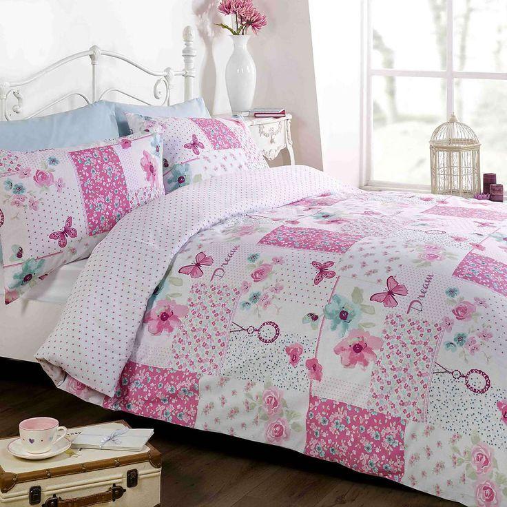 Rapport Home Dream Patchwork Pink Duvet Cover and Pillowcase Set | Dunelm