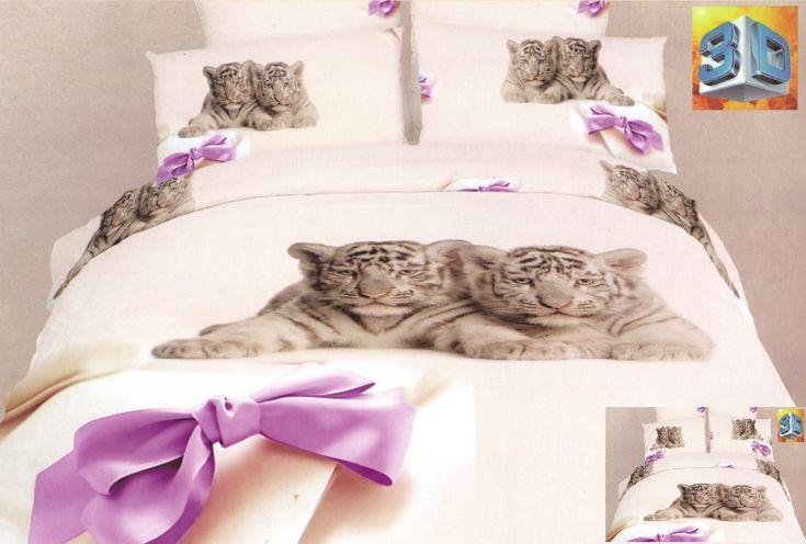 Kremowa pościel bawełniana w dwa małe tygryski