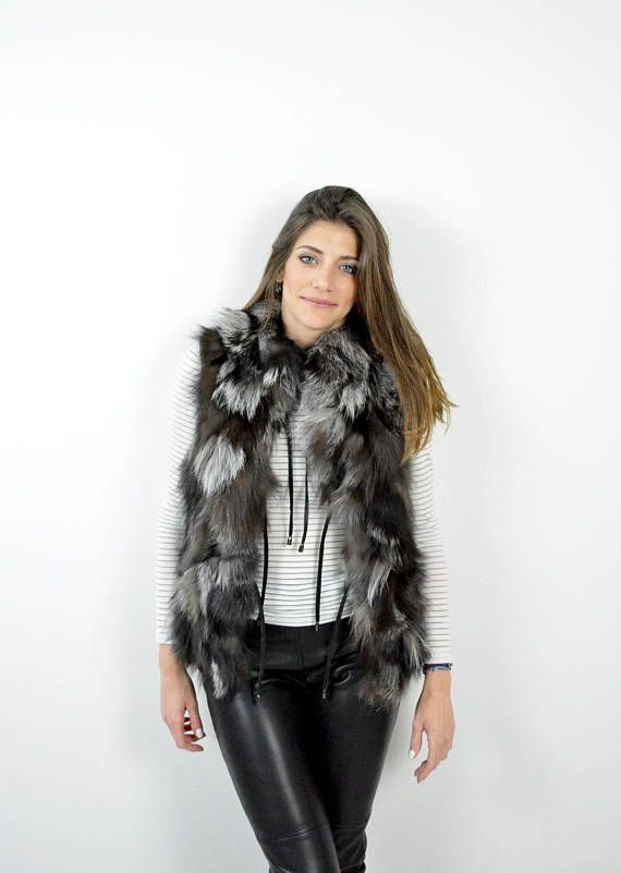 Silver Fox Fur Jacket Sleeveless Vest Women Jacket Fox Fur