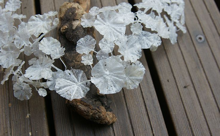 detail of Nasturtium necklace / wood and recycled plastic bags silver-crane.com