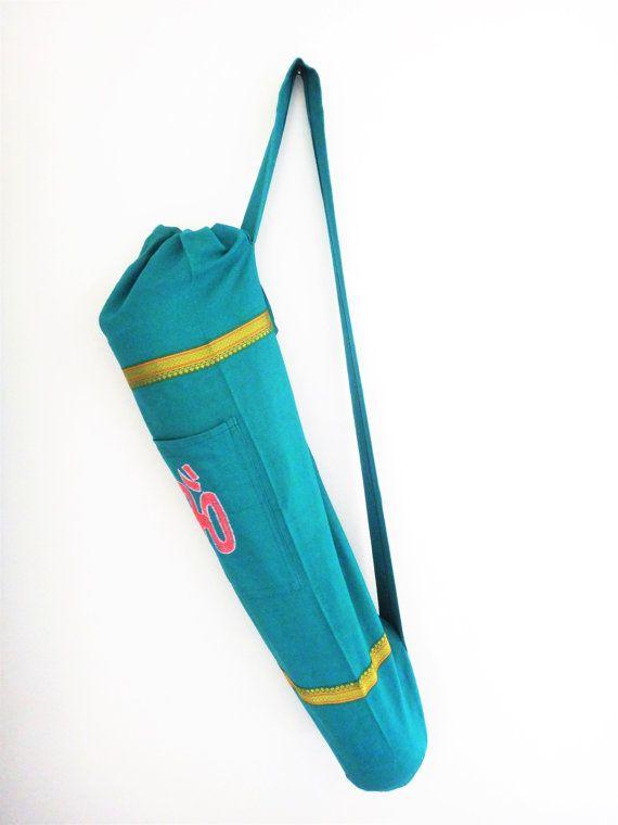 Bolsa Artesanal Para Tapete De Yoga (porta mat) Verde agua con Om bordado
