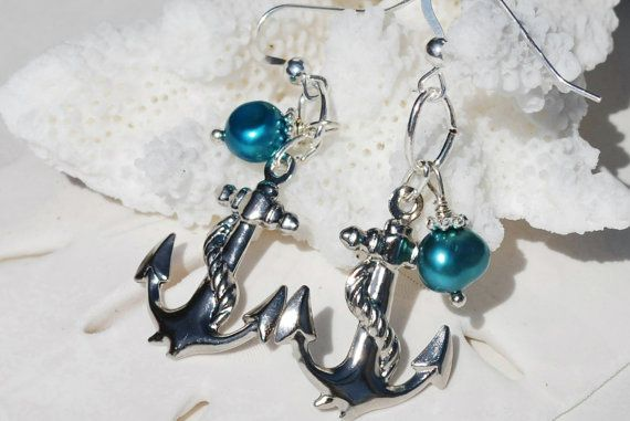 Silver Anchor Earrings Anchor Jewelry Nautical by ornatetreasures, $19.80