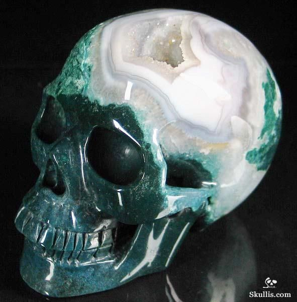 green moss agate carved crystal skull $257.95