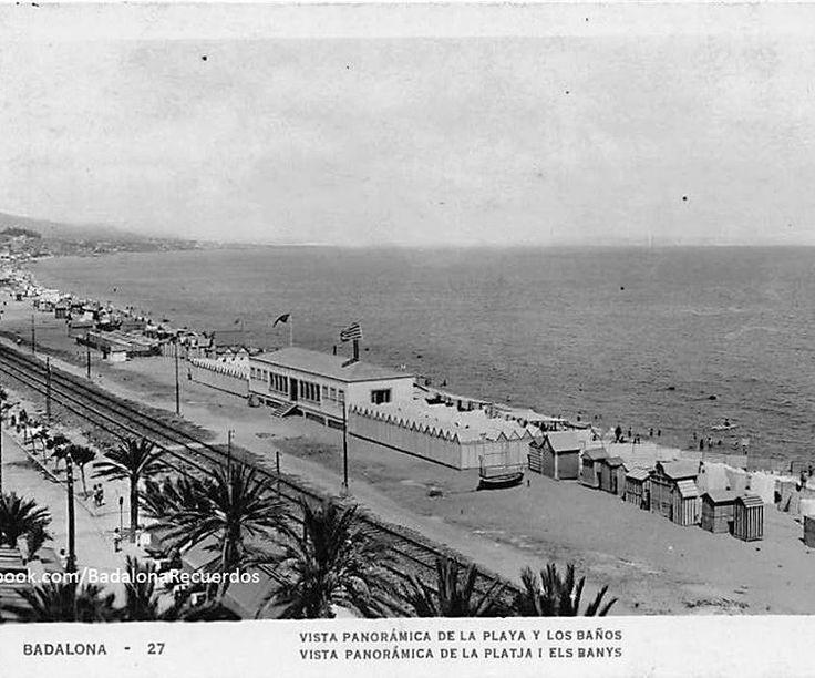 """""""Años 30, vista de la playa y casetas de baño a la altura de Tiburón. #badalona #barcelona #playabadalona #platjabdn #mediterraneo #badalonarecuerdos"""""""