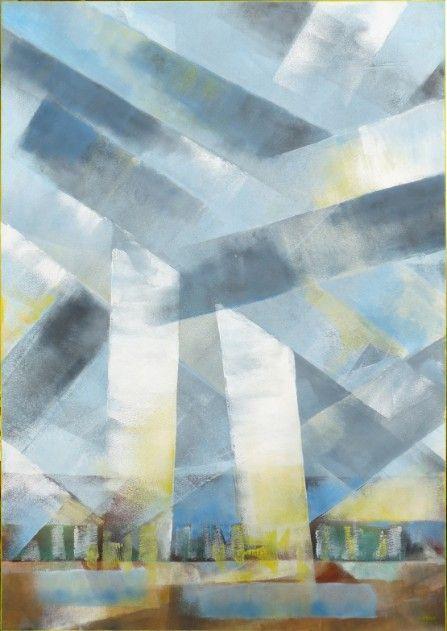 painting, schilderij : grey and yellow (grijs met geel)