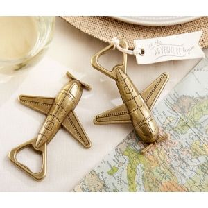 Let the Adventure Begin Airplane Bottle Opener  | Buy at Wedding Favors Unlimited (http://www.weddingfavorsunlimited.com/let_the_adventure_begin_airplane_bottle_opener.html).